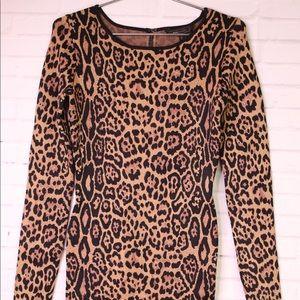 BCBGMaxAzria Sheena Camel Leopard Bodycon Dress S